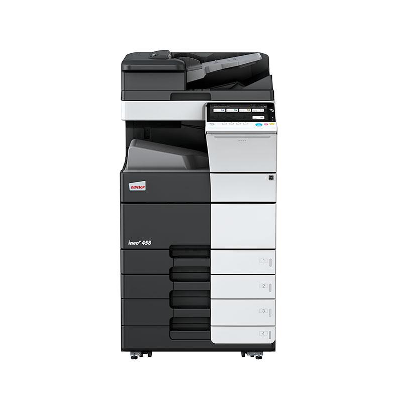 copiadora multinacional Color Ineo +458. Perfecta para oficinas, ayuntamientos, multinacionales, que deseen una buena calidad de impresión.